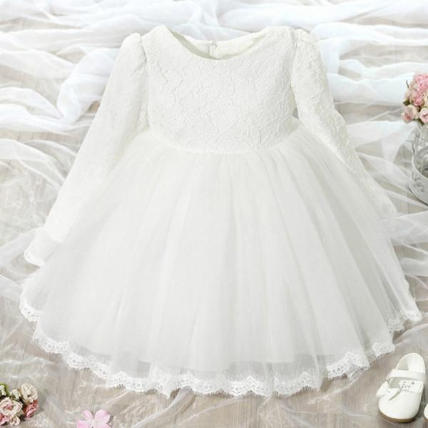 Girls Long Sleeved Dress Children Flower Wedding Dress Baby Birthday Princess Dress Skirt Fashion Korean Style Lace Boat Neck Skirt