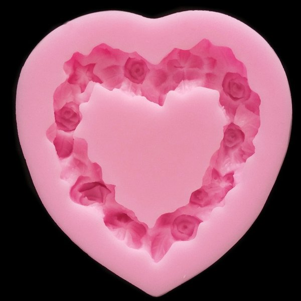 Heart Shaped Love Wreath silicone Fondant,Resin Clay Chocolate Candy Silicone Cake Mould,Fondant Cake Decorating Tools wholesaleTY1898