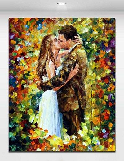 Framed Wedding Kiss in Flowers Palette Knite Oil Painting Romantic Lover,Handpainted Modern Wall Art Oil Painting on Canvas Multi sizes 176