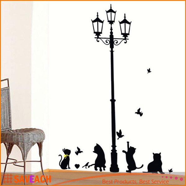 New Arrival Cat Wall Sticker Lamp and Butterflies Stickers Decor Decals for Walls/vinyl Removable Decal/wall Murals