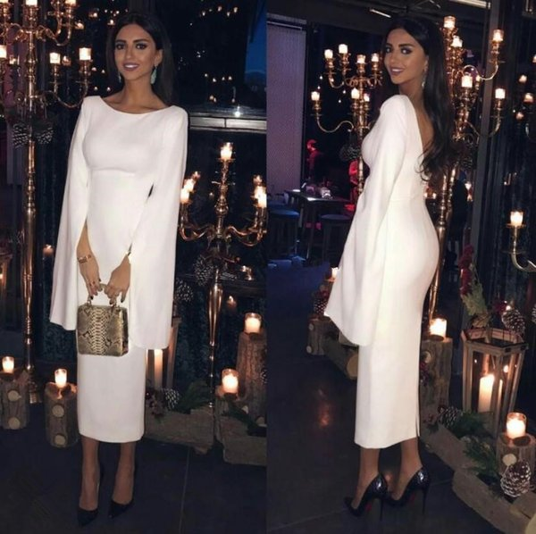 Tea length sheath dresses evening wear scoop neck zipper back vestidos de festa long sleeves white prom gowns