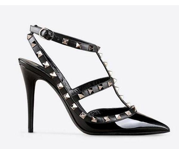 Дизайнер острым носом 2-ремень с шпильками высокие каблуки лакированной кожи заклепки сандалии женщин шипованных ремешками платье обувь Валентина туфли на высоком каблуке