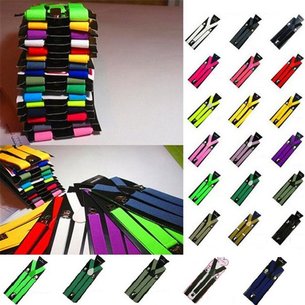 Free shipping 10 pcs/lot Clip on Adjustable Braces Candy Unisex Pants Y-back elastic Suspender Braces 1901