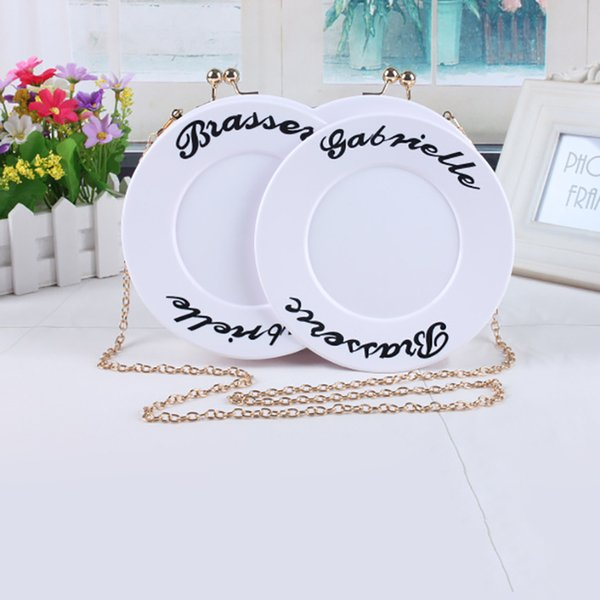 Marke Designer Sommer Acryl Dish Bag Abendtasche Brief Taschen Hard Clutch Frauen Handtasche Poliert Elegante Bankett Geldbörse - L5127