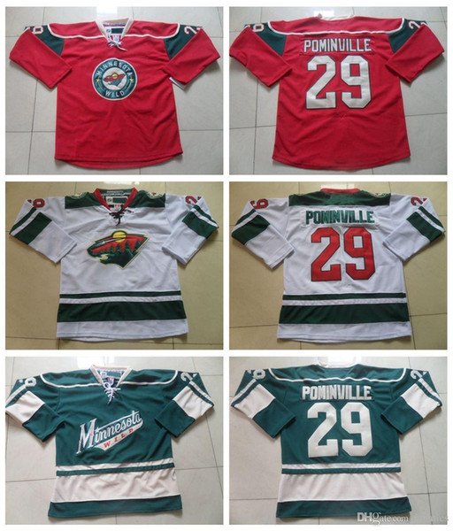 2016 Cheap Mens #29 Jason Pominville Jersey Minnesota Wild Hockey Jerseys Home Red White Green Jason Pominville Stitched Jersey