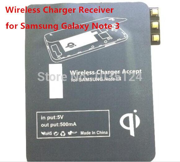 Wholesale-100Pcs/lot Ultra Thin Qi Wireless Charger Receiver Charging Adapter Coil Receiver Chip card for Samsung Galaxy Note III N9000