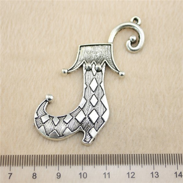 4Pcs 70mm Antik Silber ToneClown Schuhe Charms Zink-Legierung DIY handgemachten Schmuck Anhänger Großhandel