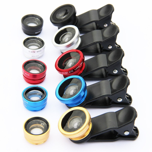 hot Sales Universal 3 in 1 Clip-On 180 Degree Fish Eye Lens + Wide Angle + Macro Lens For cell phones iphone samsung HTC ipad