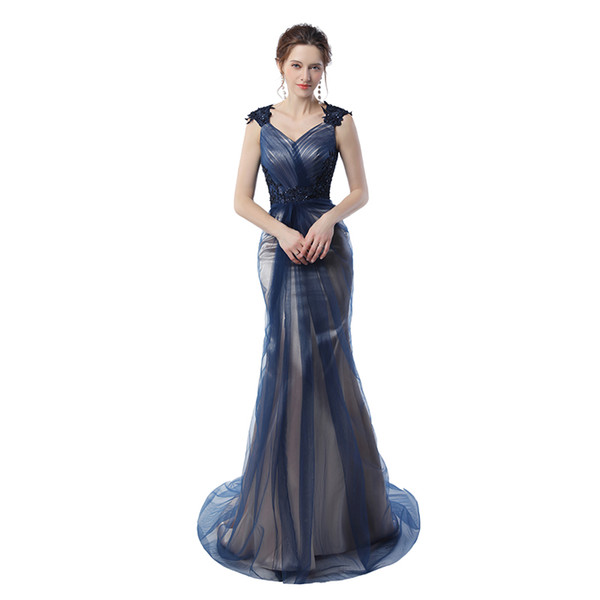 Real Pictures Navy Blue Mermaid Evening Gowns 2017 Grey Color Vintage Party Gowns Prom Dresses Free Shipping
