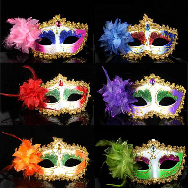 Women Half Face Painted Halloween Party Masks Masquerade Masks Women Back To School Birtyday Party Celebrations Side Flower Face Masks