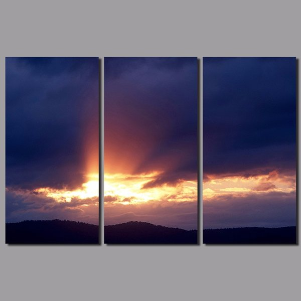 3pcs dark blue decoration sun wall art pictures sunset landscape mountains gold pink clouds Canvas Painting living room unframed