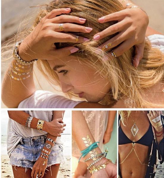 10 Adet / grup altın dövme seks ürünleri kolye bilezikler dövme metal geçici dövme kadın Su Geçirmez flaş metalik dövmeler Seksi Chic Dövme
