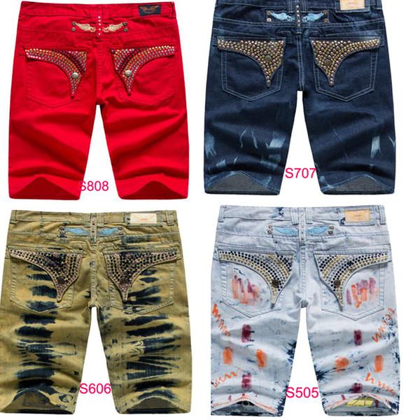 New Arrivals Mens Robin Shorts Men's Designer Jean Cowboy Denim Short Pant with Crystal Studs Flap Pockets Cover Wing Clip size 32-42