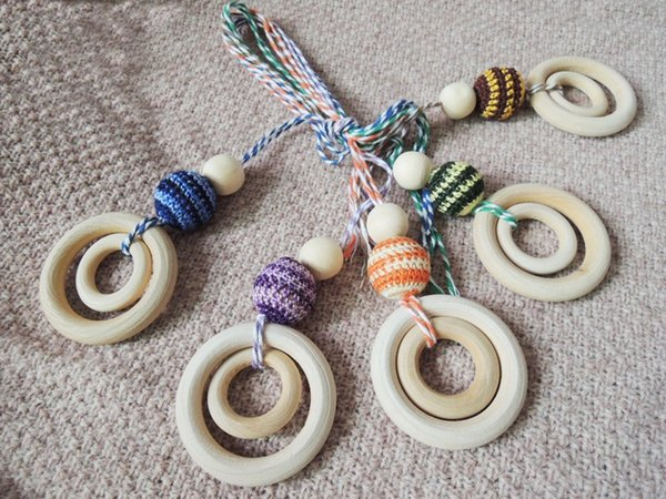 wholesale Green Yellow assorted crochet teething necklace,double wooden beads non-toxic baby toy baby teether NW1712