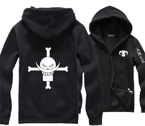 Toptan-Japon Anime One Piece Beyaz Sakal Korsan Portgas D Ace Siyah Hoodie Sokak Giyim Baskı Giyim Erkekler Comics Hoody Ter Gömlek