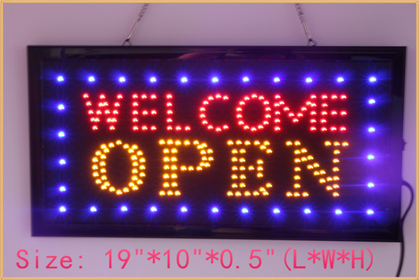 Free shipping Open Welcome LED Neon Sign 19''x10'' New Brighter light with On off Animation + On off Switch +Chain