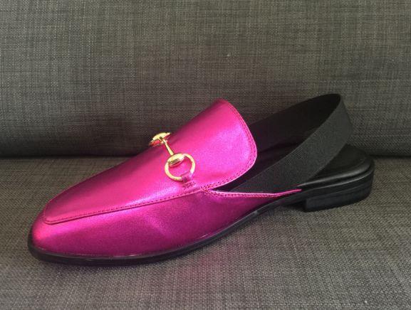 zapatos reales! u577 40 correa de goma rosada de cuero genuino metálico honda sandalias planas mulas zapatos mocasines mujeres diseñador g de lujo