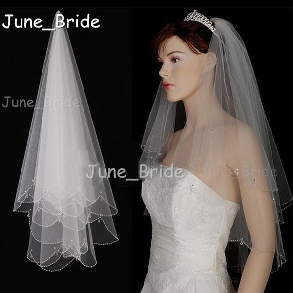 High Quality Bridal Veil Crystal Drop Beaded Bridal Veil Hand Sew Free Shipping Elbow Length with Comb Two Layer 2T Wedding Hair Accessory