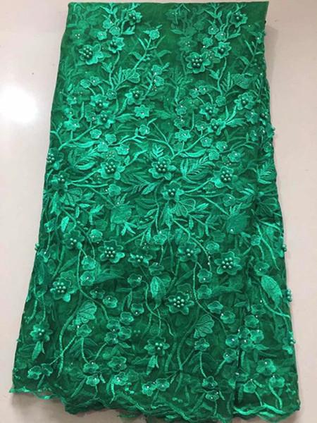 NLBT019 Envío gratis (5 yardas / pc) tela de encaje de tul africano de alta calidad con cuentas de tela de encaje neto francés nuevo diseño para vestido