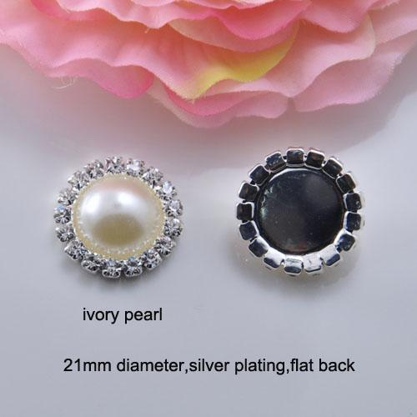 J0006) 21mm diameter,100pcs/lot, rhinestone embellishment,pearl bead,silver plating,flat back,ivory or pure white pearl