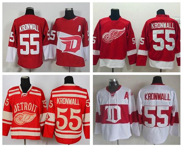 55 Niklas Kronwall Camisolas de Hóquei no Gelo Detroit Red Wings Stadium Series Inverno Clássico Vintage Casa Red Road Longe Branco
