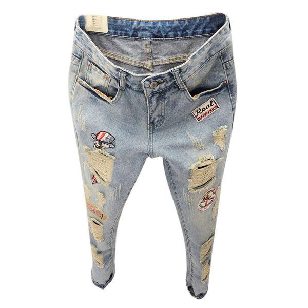 Nuevo estilo del verano Jeans mujeres Boyfriend Ripped Holes Cartoon Denim Harem Pants Letter Patches Jeans Pants para mujeres