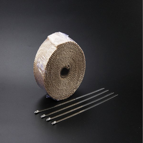 High Quality Beige Fiberglass Exhaust Pipe /Header Heat Wrap 10M x 2 inch With 10 Stainless Steel Locking Ties Kits