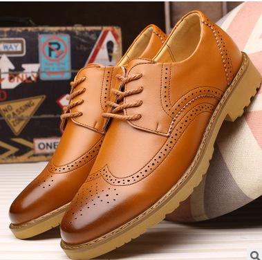 fashion Noble Stylish Genuine Leather Vintage Carved Brogues Shoes Mens Casual Oxfords Shoes Hand Made Lace Up British Style free shipping