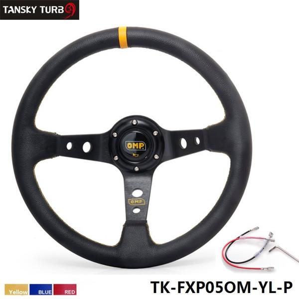 Tansky - Hochwertiger 350MM PVC Racing Aluminiumrahmen Leichtes 6-Loch Lenkrad Modifiziert Jdm Sport (gelb rot blau) TK-FXP05OM-P