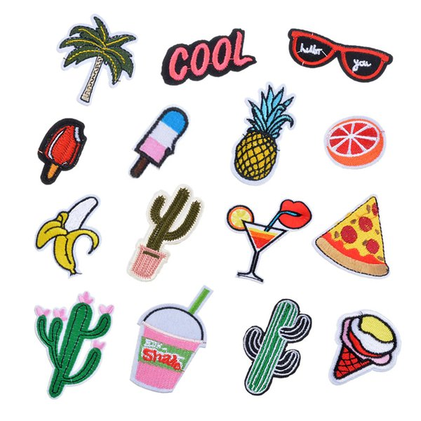 top popular 14PCs set Mixed Iron On Patches For Clothing Embroidery Patch Summer Fabric Badge Stickers For Clothes Jeans Decoration 2021