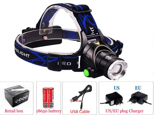 2000Lm Waterproof C-XML T6 Zoom led Headlamps Headlight Zoomable Adjust Focus For Bicycle Camping Hiking+USB Cable+battery