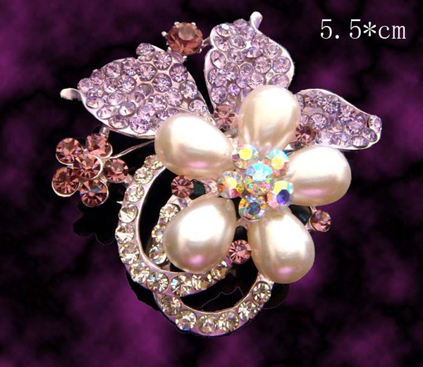 hot sale wedding plating silver fashion zinc alloy rhinestone flower Brooch bride jewelry Free shipping 12pcs lot mixed color BH704