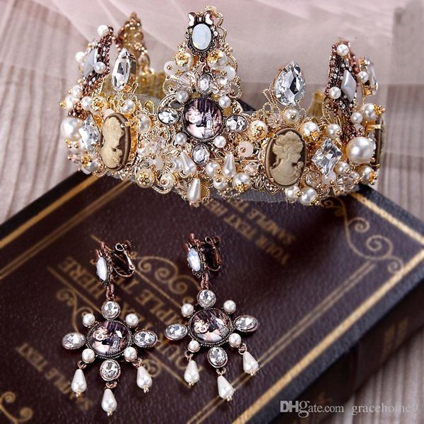 2016 New 1 Pieces Bridal Gold Crown Earring hair Accessories Baroque Old Wedding Hair headband Vintage Crystal Tiaras Women Party Jewelry