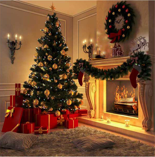 top popular Indoor Fireplace Christmas Tree Photography Backdrops Printed Garland Carpet Present Boxes Kids Children Home Party Photo Booth Background 2019