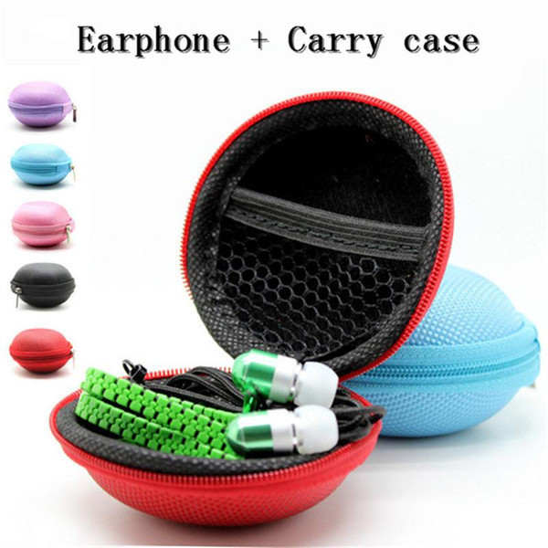 best selling Christmas Gift 3.5mm Stereo Universal In-Ear Metal Zipper Earphones earbuds With Mic Case Storage Bag For iPhone Samsung S7 HTC SONY LG Tone