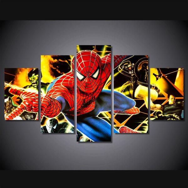 5 Pcs / Set HD Imprimé amical quartier spiderman Peinture Impression Sur Toile chambre décor impression affiche photo toile tableau décoration
