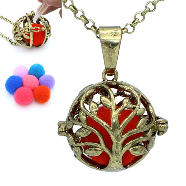 Bronze Tree of Life Hollow Locket Pendant Release Cotton Balls Aromatherapy Essential Oil Diffuser Chain Necklace Charms Jewelry