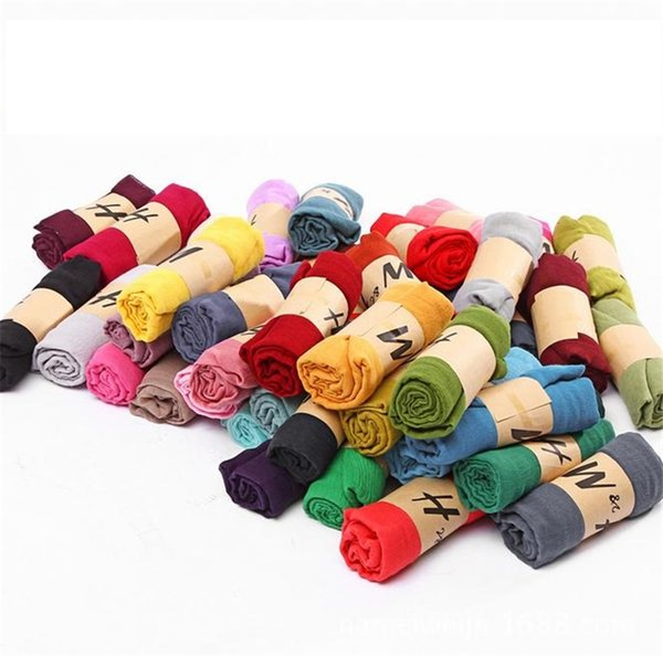 Più nuovo la sciarpa primavera / autunno in cotone e lino Sciarpa super monocromatica colore puro è prevenuta crogiolarsi negli scialli 2815