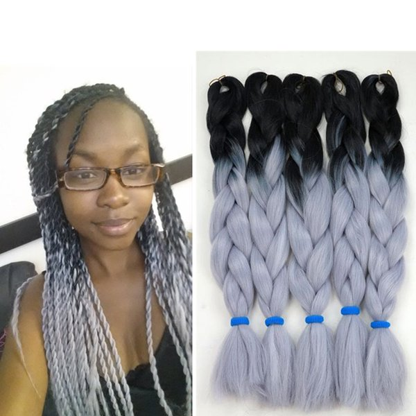 Kanekalon sentetik Ombre örgü saç 24 inç 100g SiyahGri İki Ton Kanekalon Jumbo Tığ Örgüler büküm Saç uzantıları