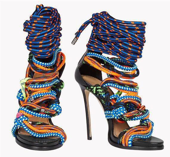 Hot Sale Brand New Rope High Heels Open Toe Lace Up Sandals Cross-tied Bandage Mix Colors Summer Rope Shoes High Heels Ankle Boots