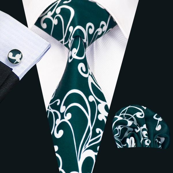 Mens seta stampato cravatte bianco blu motivo floreale affari nozze cravatta set include tie gemelli hankerchief freeshipping N-1233