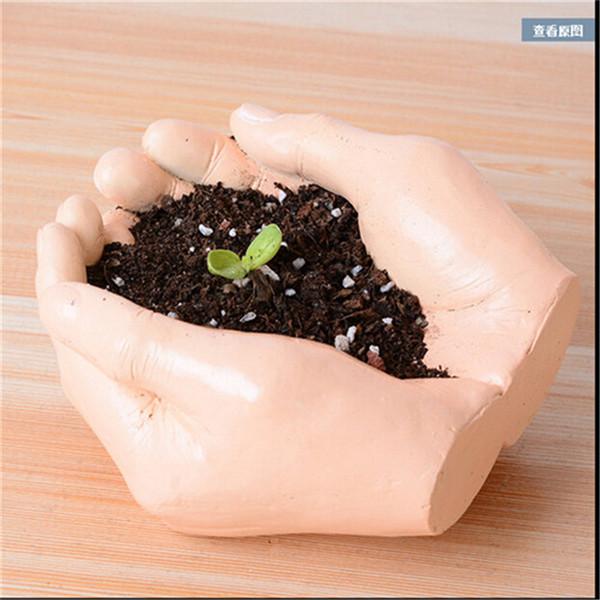 Jardinière en résine créative pot de fleurs Kawaii paume des mains Jardin plantes succulentes Jardin Bonsaï