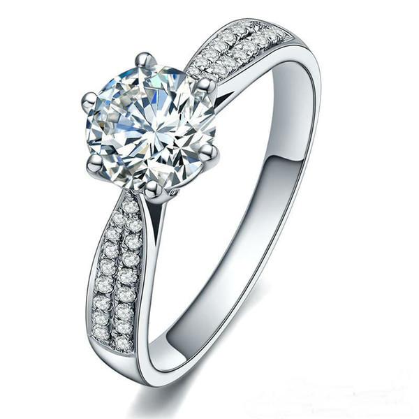 Обручальное белый алмаз 14KT золото заполнены обручальное кольцо кольцо подарок настоящее стерлингового серебра 925 кольца