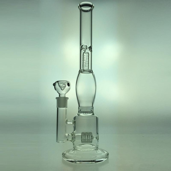 """Glass Bongs Rigs Height 14""""inch Joint 18.8MM Glass Water Pipe Tire Style and Honeycomb Glass diffuser percolator 2016 Hot selliing"""