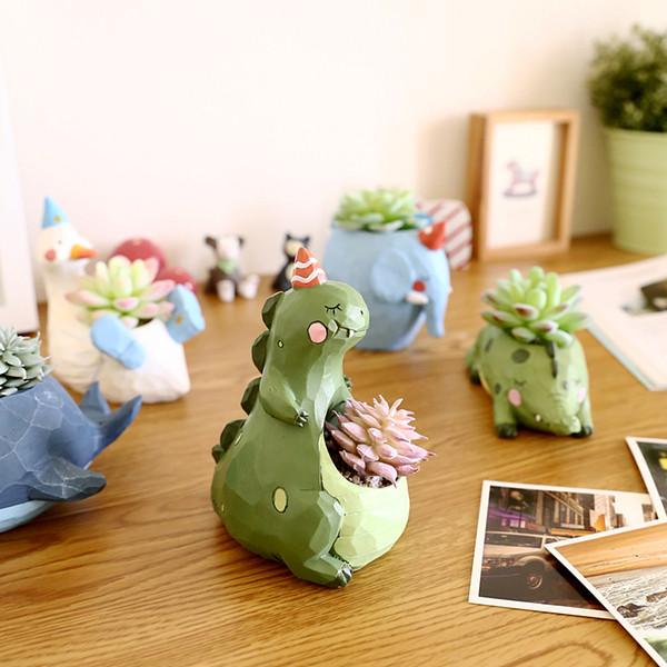 1Pc Resin Creative Succulent Plants Pots Animals Mini Flower Pot Decorative Desktop Nursery Pot Garden Supplies Home Decoration