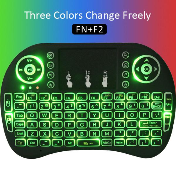 Красочный свет Rii mini i8 Беспроводная мышь Игровая клавиатура Сенсорная панель Портативные клавиатуры Android бесплатно ТВ-бокс Ноутбук Планшет xbox Пульт дистанционного управления