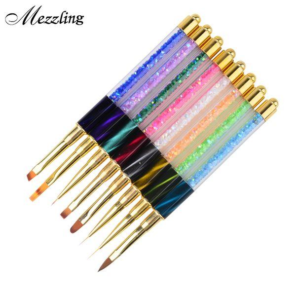 Wholesale- 1 PCS Cat Eye Rhinestones Acrylic Handle Design Nail APen Drawing Line Painting Gradient UV Gel Polish Manicure Tool
