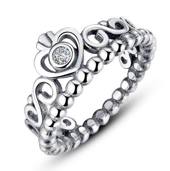 best selling 925 Ale sterling sliver Plated crown ring for Valentine's Day princess crown ring authentic diamond rings