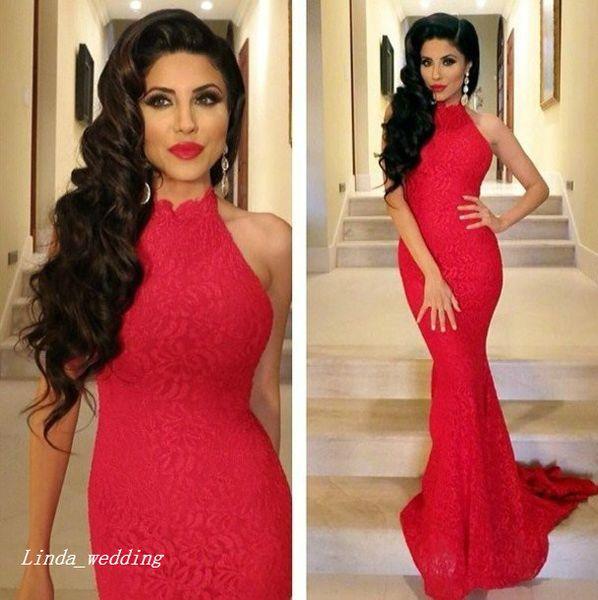 2019 Mermaid Uzun Balo Elbise Güzel Kırmızı Yüksek Boyun Dantel Kadınlar Özel Durum Elbise Akşam Parti Kıyafeti Giymek