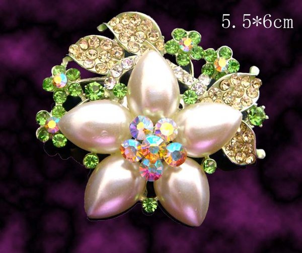 hot sale wedding plating silver fashion zinc alloy rhinestone flower Brooch bride jewelry Free shipping 12pcs lot mixed color BH705